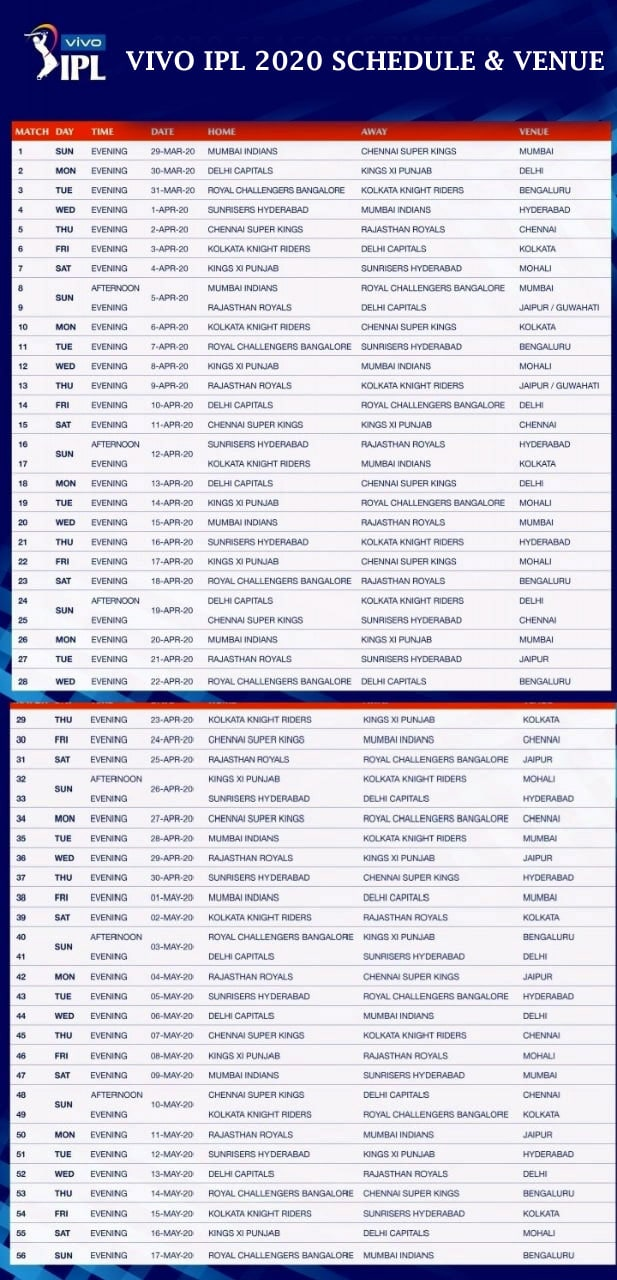 Vivo Ipl 2020 Schedule Pdf Download Fixture Time Table Team Venue And Team Standings